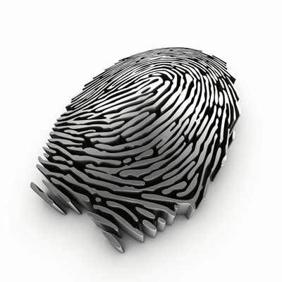 A stylized representation of a fingerprint made of extruded metal.