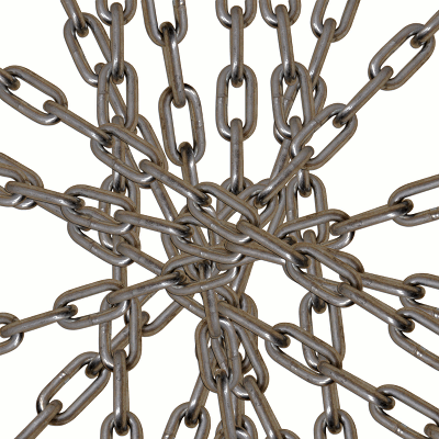Metal chains radiate outwards haphazardly from the center of the image.