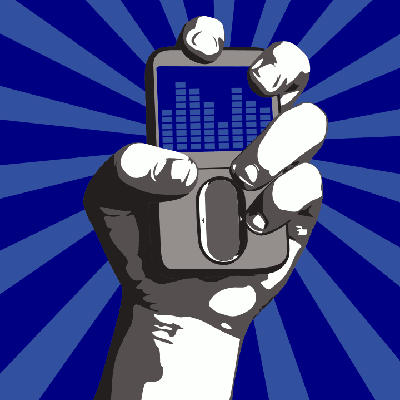 A stylized hand triumphantly holds a generic mobile device aloft.