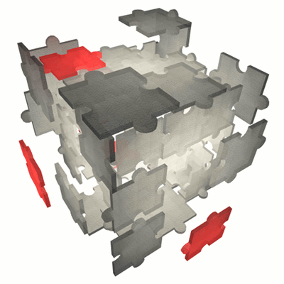 A stylized cube made of interlocking puzzle pieces.Some of the pieces are grey, and some are red.