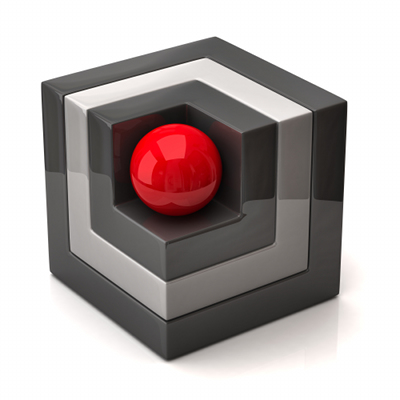 A shiny red sphere set inside a cube shaped hole in the near corner of a cube made of shiny grey material.